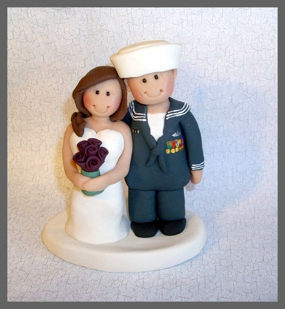 Navy Sailor Wedding Cake Topper by gingerbabies on Etsy