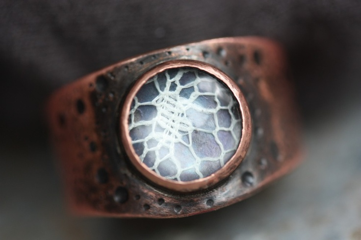 Love the use of Lace under glass as a Substitute for a Gem