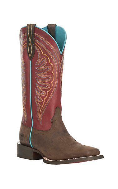 Ariat Women's Circuit Shiloh Brown with Red Upper Wide Square Toe Western Boot | Cavender's