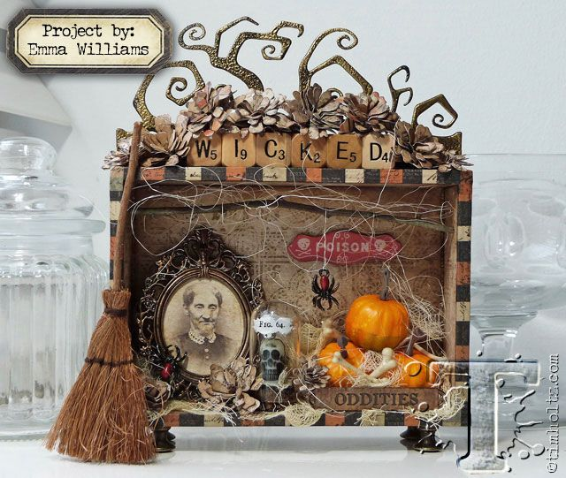 today's project is a treasure-trove of halloween creativity created by emma williams. each devious detail tells a tale of artful oddities that something wicked this way comes...t!m supplies: inks:...