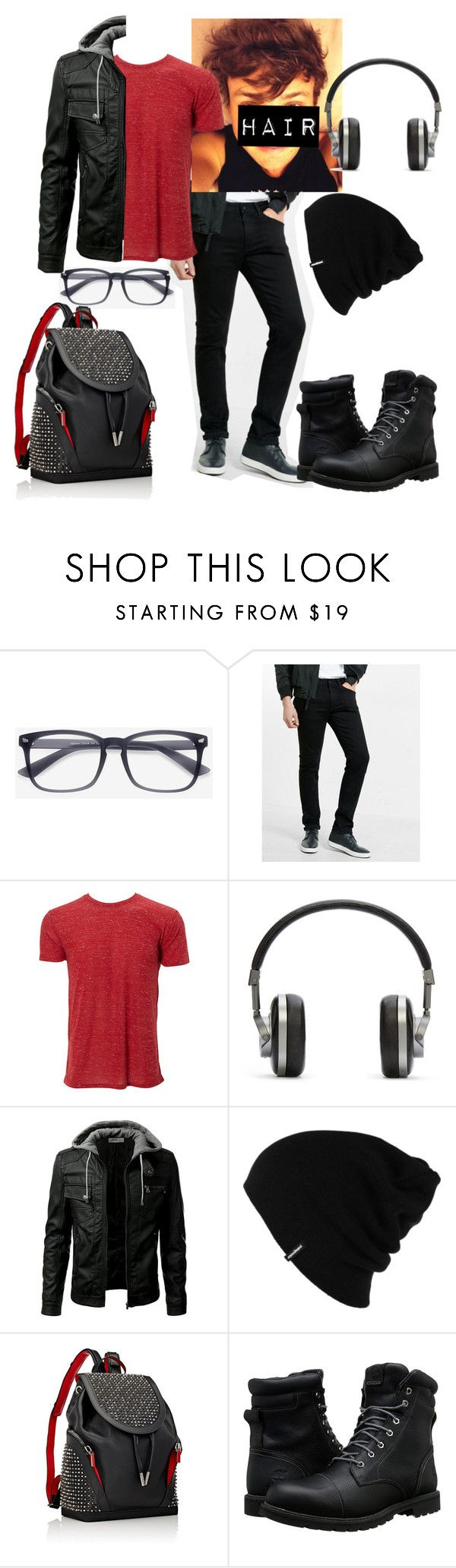 """""""black widdow's son, uriah johanson"""" by beautiful-tragic-love ❤ liked on Polyvore featuring Express, Master & Dynamic, Patagonia, Christian Louboutin, Timberland, men's fashion, menswear and school"""