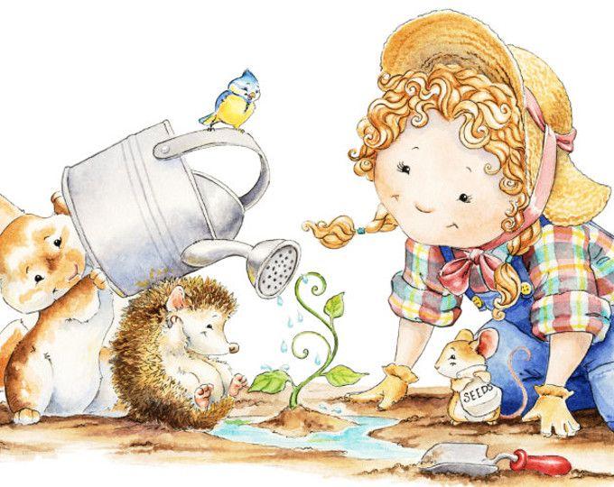 Watercolor Nursery Art, Forest Animal, Hedgehog, Gardening, Forest Friends, Nursery Wall Art, Baby Shower Gift, Baby Rabbit Art, Nursery Art