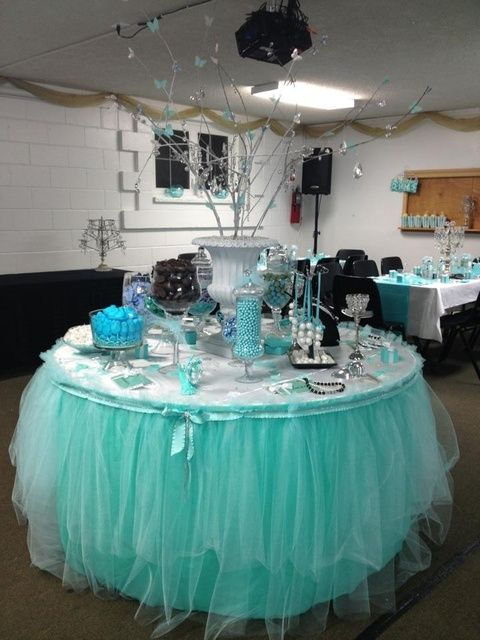Sweets table at a Tiffany's Party #tiffanys #partysweets