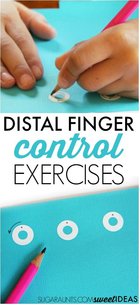 Try these distal finger control exercises using sticker reinforcement labels to develop and build fine motor skills needed for dexterity and legibility in written work. Perfect for a pre handwriting activity!