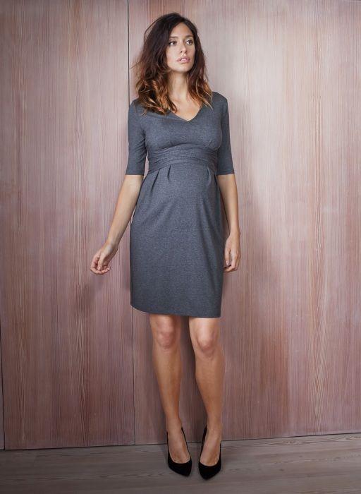 Serafina Maternity Dress in Grey   Isabella Oliver   Maternity Workwear