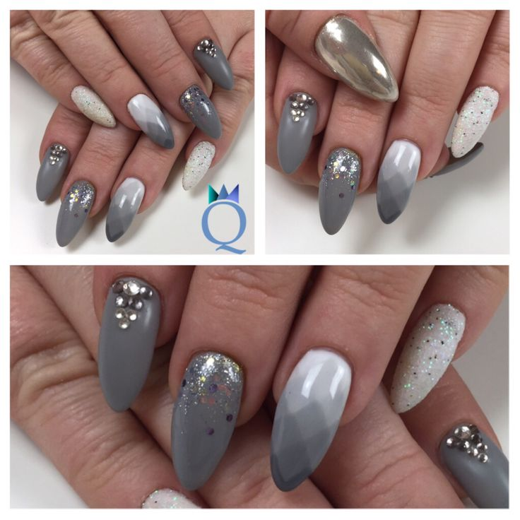 Meine neuen Nägel / my new nails #almondnails #gelnails #nails #grey #white #glitter #stones #mat #glossy #mirrorpowder #akyado #mandelform #gelnägel #nägel #grau #weiss #glitzer #steinchen #matt #glänzend #nagelstudio #möhlin #nailqueen_janine