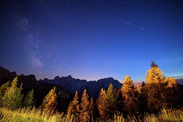 Night Of Stars On Mount Lussari. From The Woods To The Starry Sky. The Milky Way