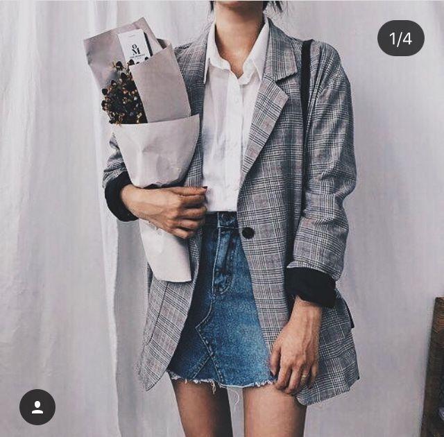 timeless design f071d 09e26 Jeansrock weißes Hemd grauer Blazer #blazer #grauer ...