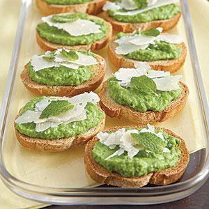 Bruschetta with Minted Pea Puree Recipe | MyRecipes.com