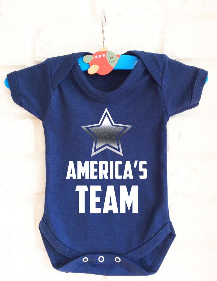 American football America's Team baby's blue baby grow onesie with silver star by MumKnowsBabyGrows on Etsy