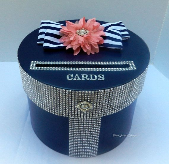Navy Blue Coral Wedding Card Box Silver Bling by SweetJonesin
