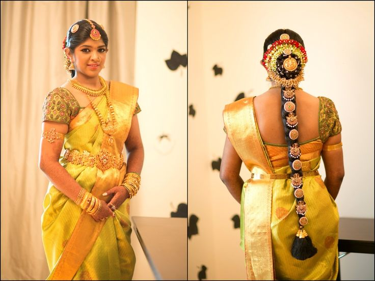 Traditional Southern Indian bride wearing bridal saree, jewellery and hairstyle. #IndianBridalMakeup