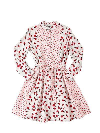 873fefb2c STELLA MCCARTNEY KIDS, Hearts & ladybugs print viscose dress, White/red,  Luisaviaroma