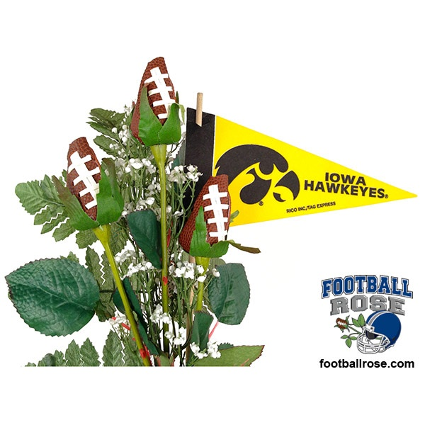 Score a touch down in the heart of an Iowa Hawkeyes fan with Football Roses and officially licensed NCAA Big Ten accessories.  $64.95