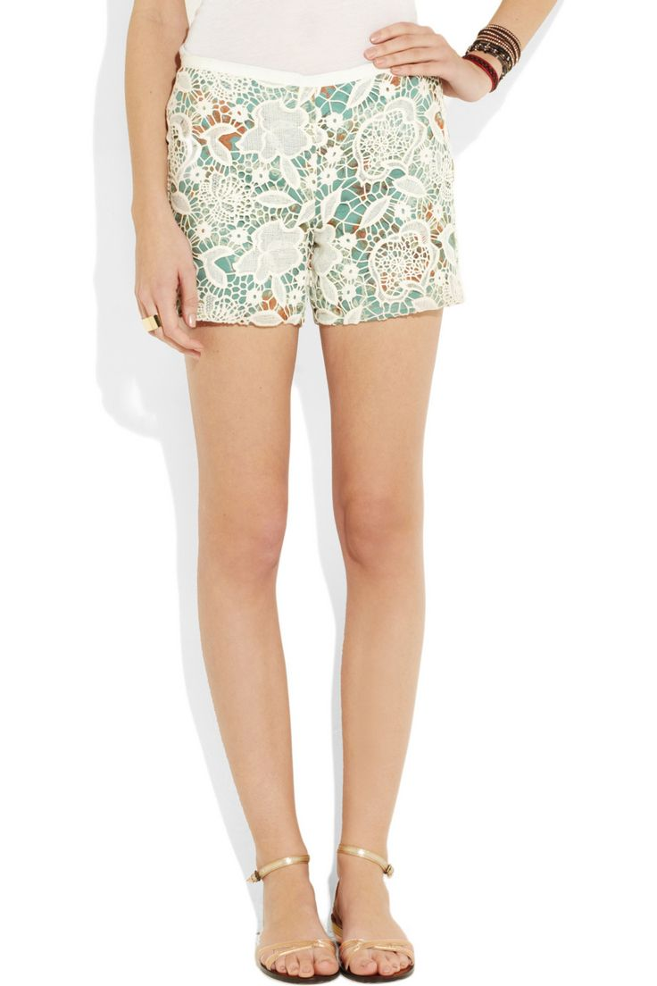 Lacey shorts. (Anna Sui | Lace-covered printed silk shorts | NET-A-PORTER.COM)