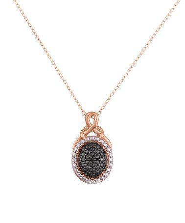 Look at this #zulilyfind! Black Diamond & Rose Gold Vermeil Oval Pendant Necklace #zulilyfinds