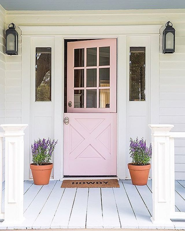 pink front door, farm house, porch