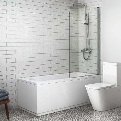 1500mm Straight Bath & Screen with Round Design - soak.com