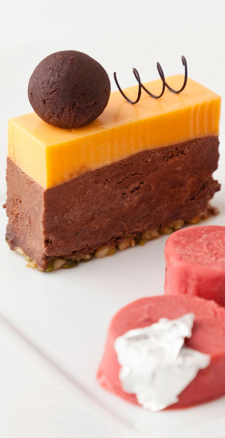 Vineet Bhatia's layered mousse not only packs a visual punch but is a hive of exciting flavours - including orange, whisky and cranberry.