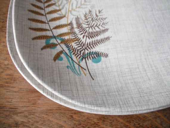 J&G Meakin Rock Fern dinner plates pair by unatheballooner