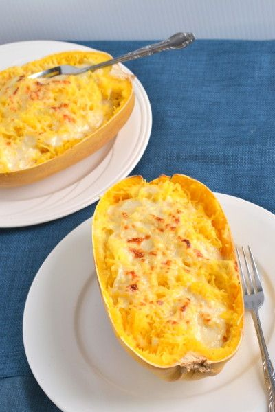 Spaghetti squash alfredo. Not that I particularly care about low-calorie-ness. This just looks tasty.