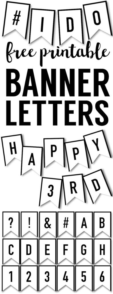 Banner Templates Free Printable ABC Letters. DIY ABC letters for custom wedding banners, baby shower, personalized birthday banners, Father's Day, Mother's Day, Christmas.