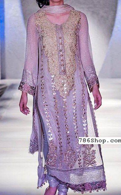 Lilac Crinkle Chiffon Suit | Buy Pakistani Indian Dresses