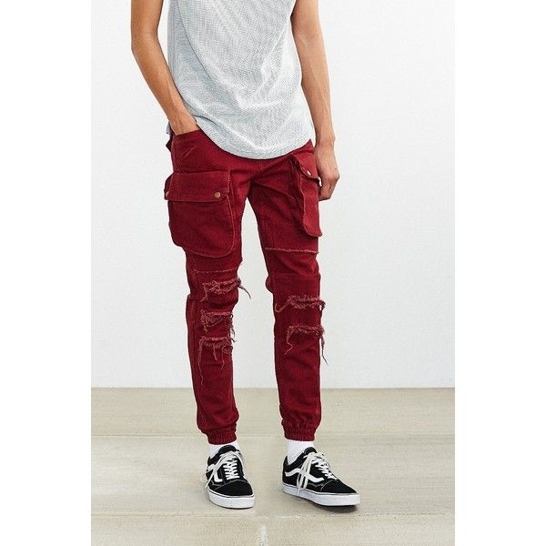 Publish Crow Destructed Cargo Jogger Pant ($129) ❤ liked on Polyvore featuring men's fashion, men's clothing, men's activewear, men's activewear pants and maroon