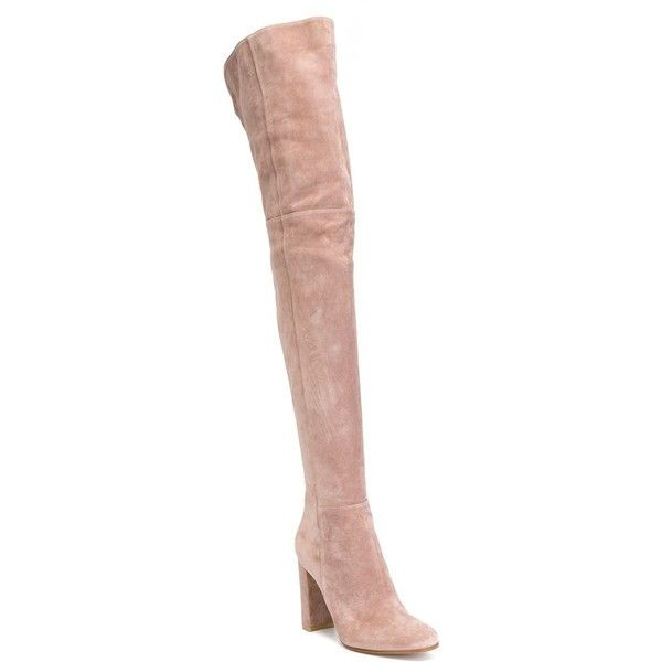 Gianvito Rossi Rolling High Thigh Length Boots ($1,771) ❤ liked on Polyvore featuring shoes, boots, genuine leather boots, over-the-knee leather boots, rounded toe boots, side zipper boots and pink leather boots
