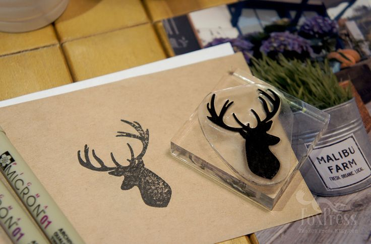 Hipster Rubber Stamp Deer Head Rubber Stamp 2 x 2 by TheFoxPress