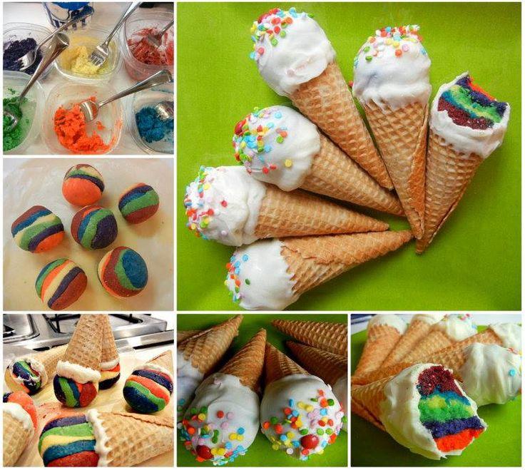 Rainbow Cake Ice Cream Cones