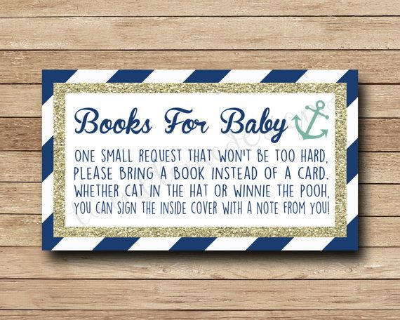 ♥ DIGITAL BABY SHOWER CARD INSERT ♥  DIY Printable - bring a book instead of a card request insert with nautical anchor design and navy blue stripes with gold glitter border.  This listing is for digital printable bring a book insert - high resolution PDF file  This adorable nautical baby shower insert will fit perfectly with the nautical/sea/ocean baby shower theme!  ♥ Dimensions ♥ 3.5 x 2 inches high resolution 8.5 x 11 PDF file with 8 images per page for printing   ♦ INSTRUCTIONS ♦ Once…