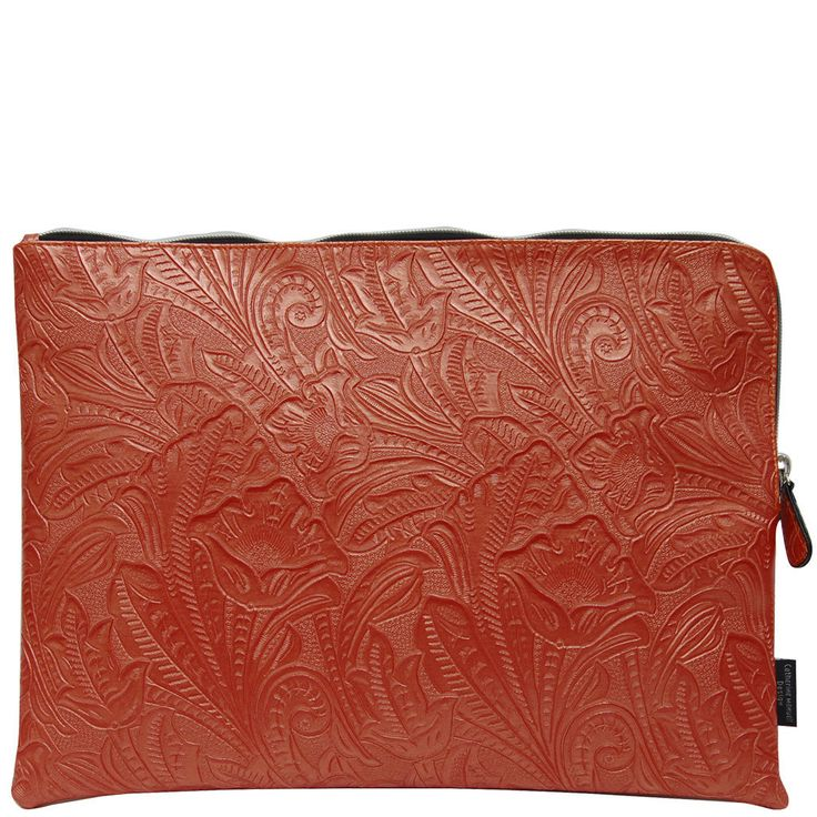 Hot Desk Folio - Orange Emboss Leaf from TUSK homewares