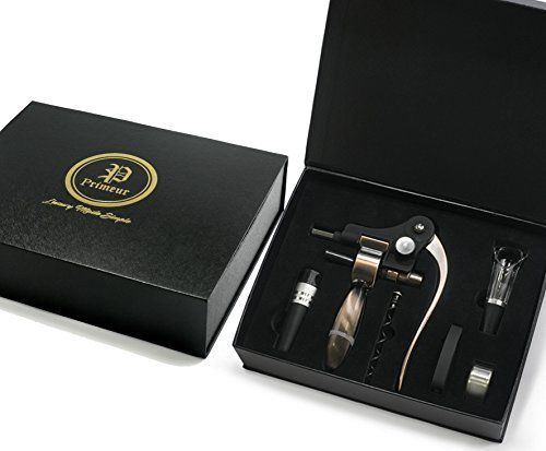Best Corkscrew Wine Opener- Primeur Seven Piece Luxury Wine Gift Set - Extra Worm/Spiral Wine Aerator, Stopper, Foil Cutter and Drip Ring-Black and Gold Embossed Magnetic Box #Best #Corkscrew #Wine #Opener #Primeur #Seven #Piece #Luxury #Gift #Extra #Worm/Spiral #Aerator, #Stopper, #Foil #Cutter #Drip #Ring #Black #Gold #Embossed #Magnetic