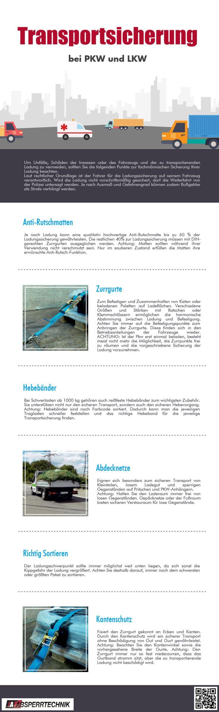 Infografik - Transportsicherung bei LKW und PKW #transportsicherung #transport #lkw #1aabsperrtechnik