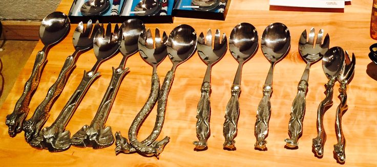 Our selection of pewter animal salad servers.