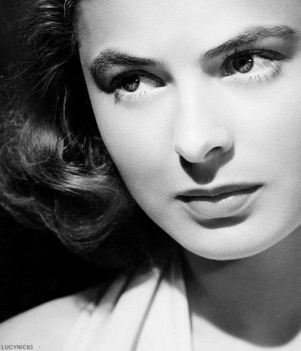 Ingrid bergman black and white portrait female