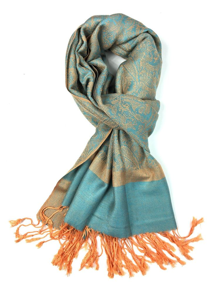 Achillea Two Tone Vintage Jacquard Paisley Pashmina Shawl Wrap Scarf (Blue Orange)