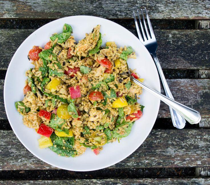 JUSIA GOTUJE Sałatka obiadowa z komosą ryżową lub ryżem. Sałatka do pracy, sałatka na obiad, sałatka z kurczakiem, sałatka ze szpinakiem,