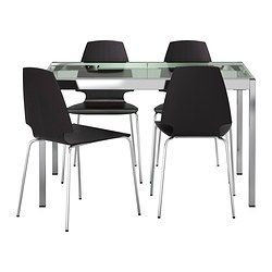 IKEA - GLIVARP / VILMAR, Table and 4 chairs, The glass table top lets light…