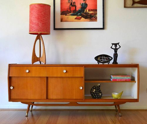 Danish modern quality crafted open back Queensland maple timber sideboard - Via