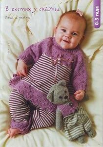 Вязанный спицами костюм для девочки 1 год
