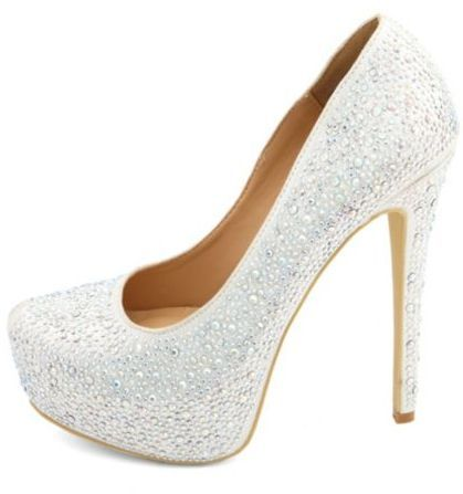 Charlotte Russe Diamond Princess Rhinestone Platform Pumps on shopstyle.com