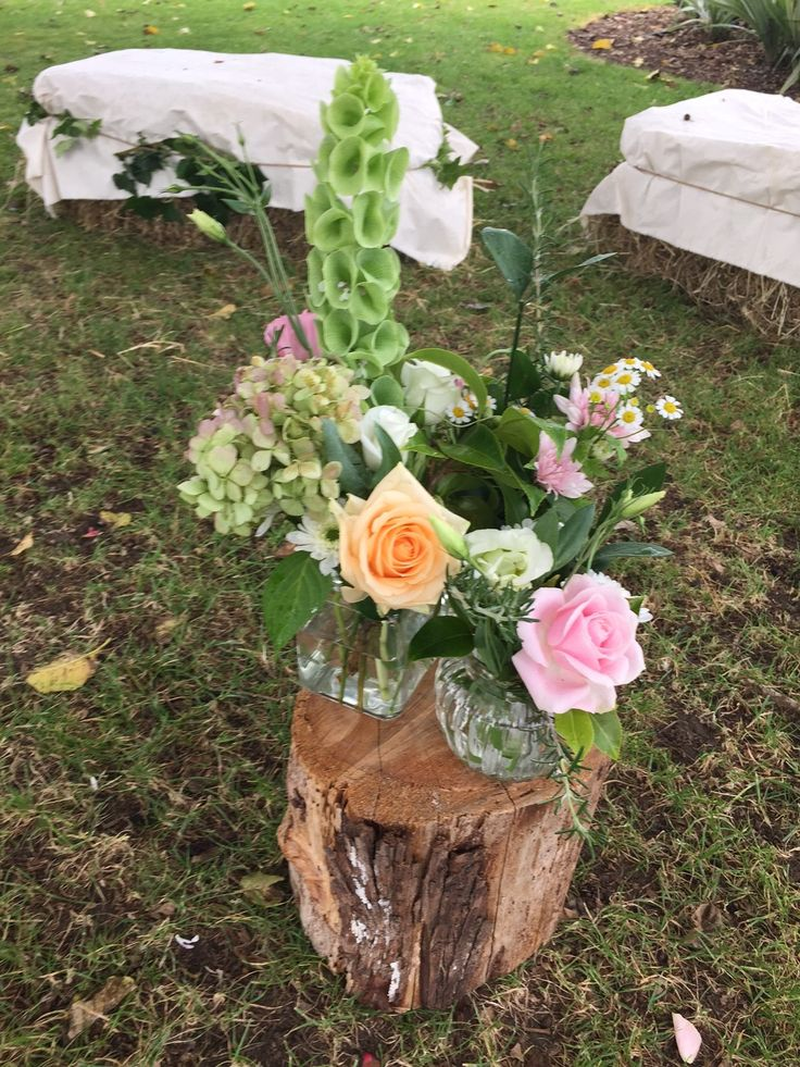 Tree stump and flowers to create an isle