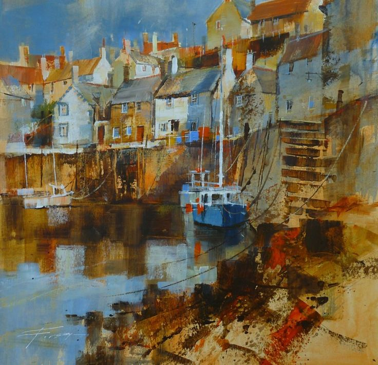 Quayside and Moorings, Portsoy by Chris Forsey RI