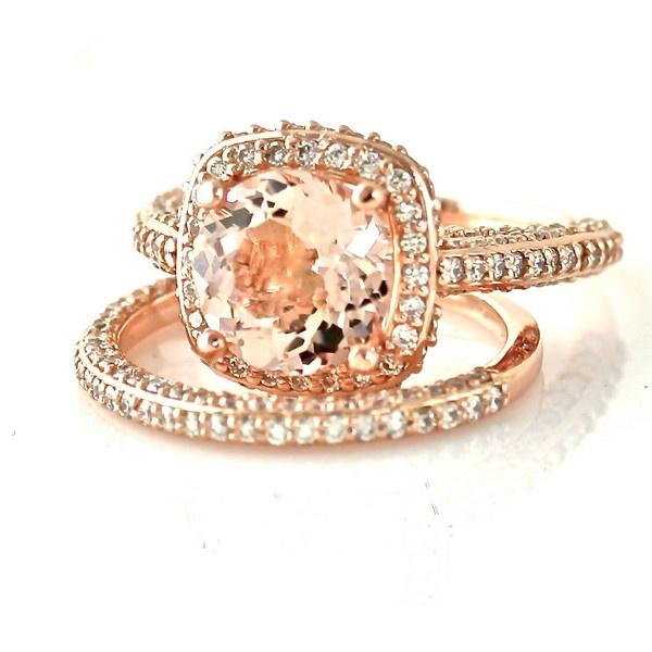 14K Rose Gold Morganite Wedding Set Diamond Halo Morganite Engagement Ring 18K Platinum Bridal Jewelry ($2,627) found on Polyvore