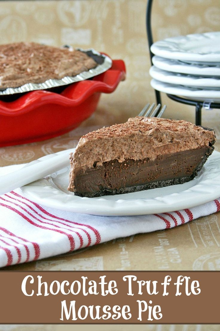 Chocolate Truffle Mousse Pie A layer of my favorite chocolate silk pie with a creamy layer of chocolate mousse. This pie literally melts in your mouth!