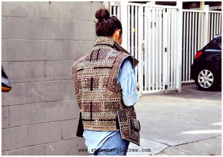 STREET STYLE FREE: Samurai Jackets, Clothing Hors, Fashion Style, Fashion Knitwear, Street Style, Denim, Marant Vest, Chaqueta Isabel, Isabel Marant