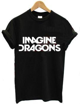 2015 de las nuevas mujeres camiseta imagínese dragones cartas de impresión de algodón ocasional camisa divertida para la señora negro blanco Top camiseta inconformista ZT203-27