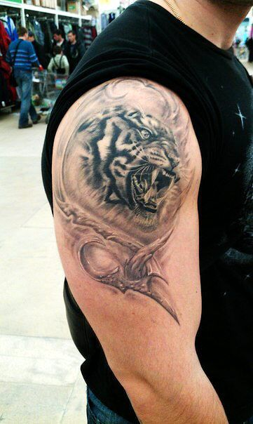 тату тигр, реализм тату, tattoo tiger